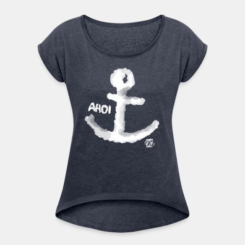 anker weiss - Frauen T-Shirt mit gerollten Ärmeln