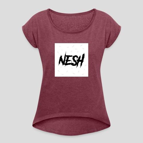 Nesh Logo - Frauen T-Shirt mit gerollten Ärmeln