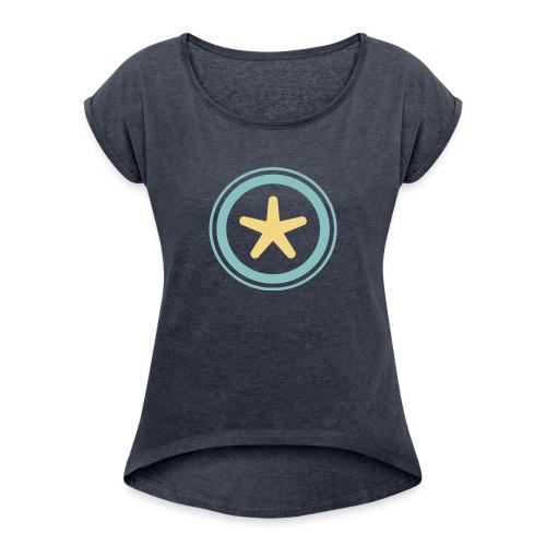 El mundo a través de un visor - Camiseta con manga enrollada mujer
