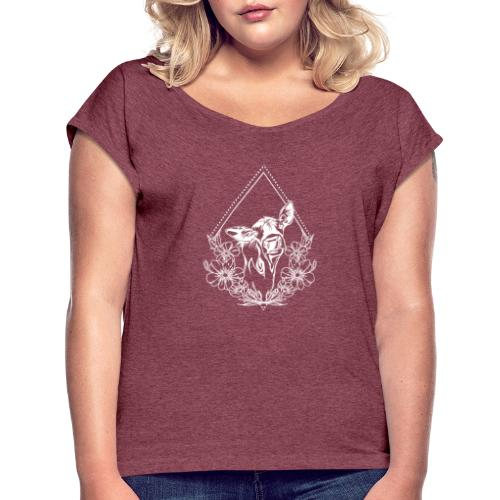 Cow with flowers - Vrouwen T-shirt met opgerolde mouwen