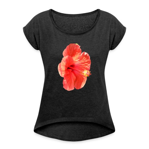A red flower - Women's T-Shirt with rolled up sleeves