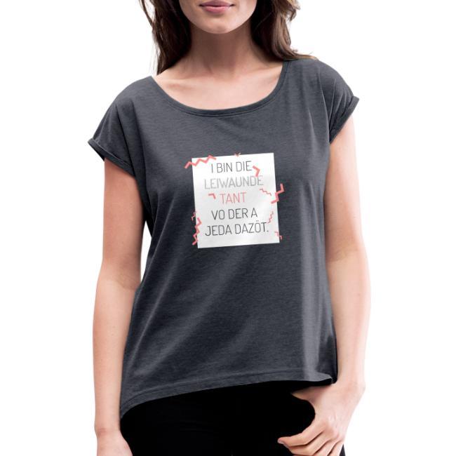 Vorschau: I bin die leiwaunde Tant - Frauen T-Shirt mit gerollten Ärmeln