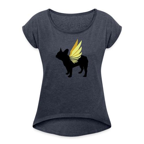 Winged frenchie - Naisten T-paita, jossa rullatut hihat