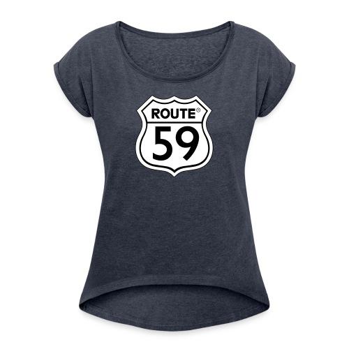 Route 59 zwart wit - Vrouwen T-shirt met opgerolde mouwen