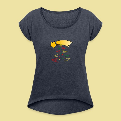 Weihnachtsbaum mit einer Sternschnuppe - Frauen T-Shirt mit gerollten Ärmeln