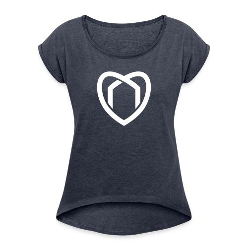 Blaue Haus Logo Herz - Frauen T-Shirt mit gerollten Ärmeln