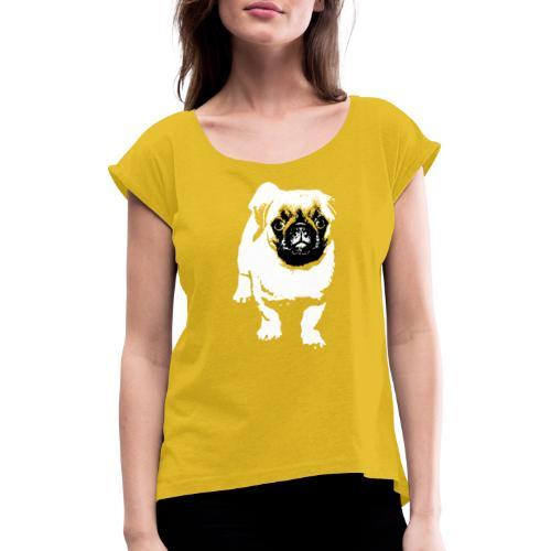 Mops Hund Hunde Möpse Geschenk - Frauen T-Shirt mit gerollten Ärmeln
