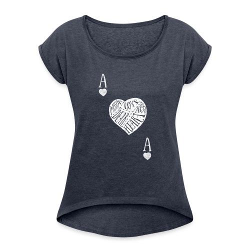 Camiseta As de Corazones - Camiseta con manga enrollada mujer