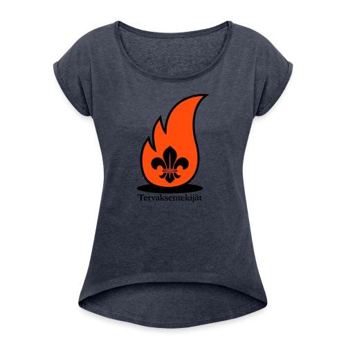 Terte lieskalogo mustaora - Naisten T-paita, jossa rullatut hihat