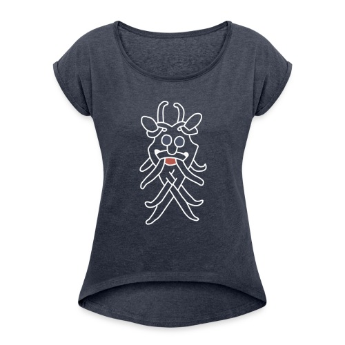 odinhvidstor2 png - Women's T-Shirt with rolled up sleeves