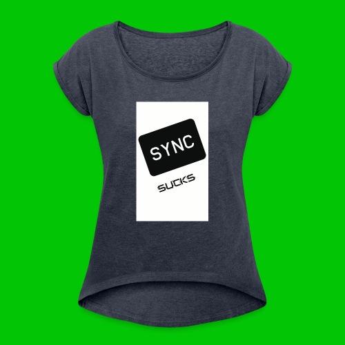 t-shirt-DIETRO_SYNK_SUCKS-jpg - Maglietta da donna con risvolti