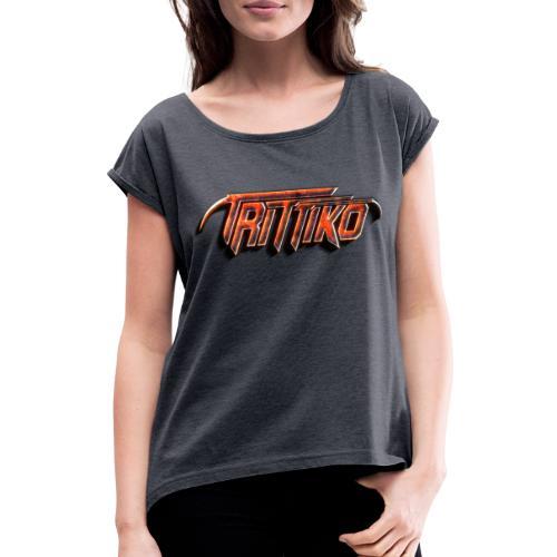 Trittiko Logo Rot 3D - Frauen T-Shirt mit gerollten Ärmeln