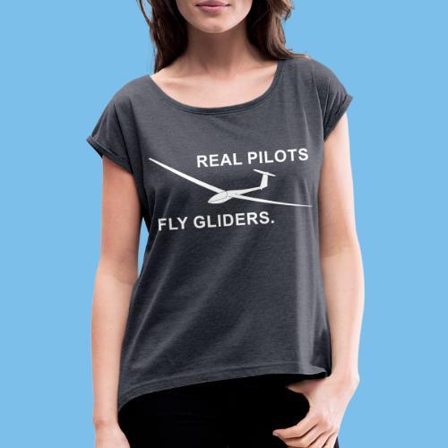 Segelflieger Segelflugzeug gleiten Geschenkidee - Frauen T-Shirt mit gerollten Ärmeln