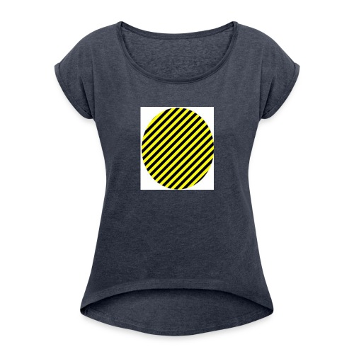 varninggulsvart - T-shirt med upprullade ärmar dam
