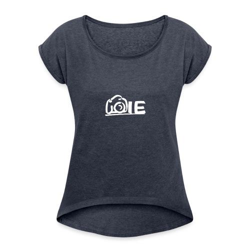 Isabelle Eigenraam Klein Wit - Vrouwen T-shirt met opgerolde mouwen