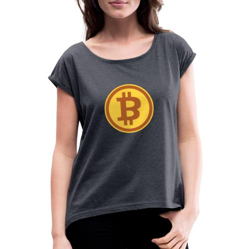 Bitcoin - Frauen T-Shirt mit gerollten Ärmeln
