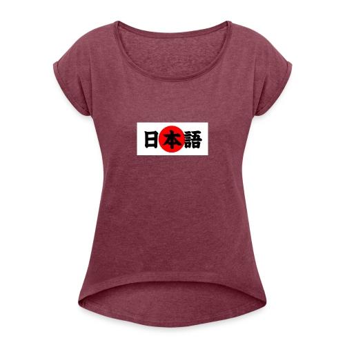 japanese - Naisten T-paita, jossa rullatut hihat