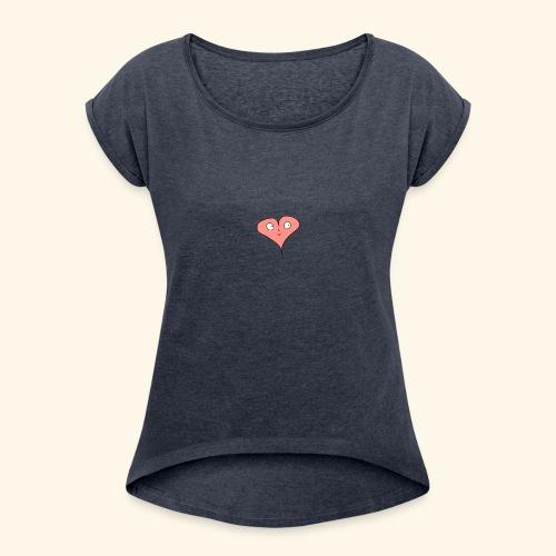 hjerte - Dame T-shirt med rulleærmer