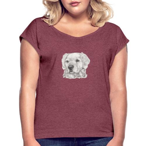 golden retriever - Dame T-shirt med rulleærmer