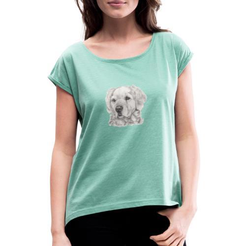 golden retriever - Dame T-shirt med rulleærmer