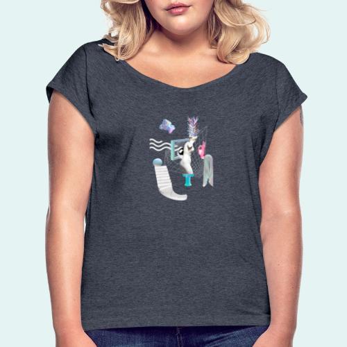 Virtual plaza - Dame T-shirt med rulleærmer