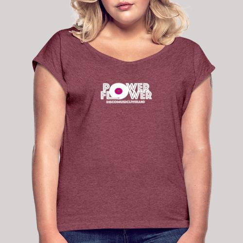 Logo PowerFlower bianco e fuxia - Maglietta da donna con risvolti