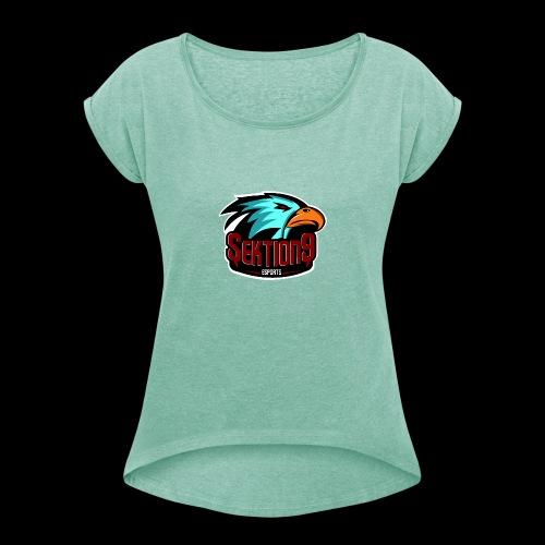 Sektion9 Logo Schwarz - Frauen T-Shirt mit gerollten Ärmeln