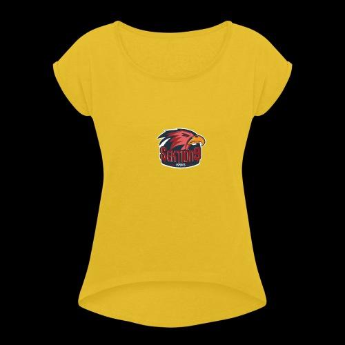 Sektion9 logo Rot - Frauen T-Shirt mit gerollten Ärmeln