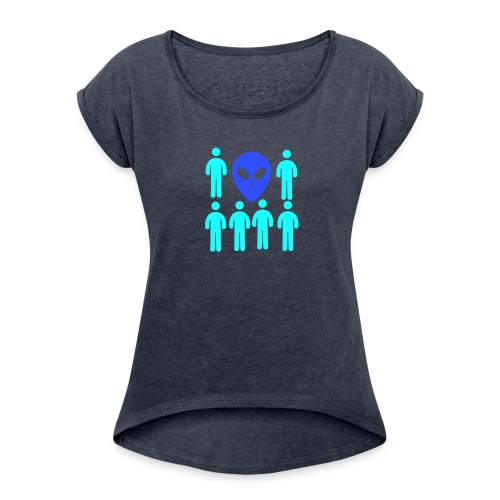 Extraterestre y Humano - Camiseta con manga enrollada mujer