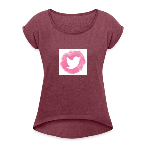 pink twitt - Women's T-Shirt with rolled up sleeves