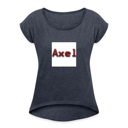 Retro Pixel Logo - Vrouwen T-shirt met opgerolde mouwen