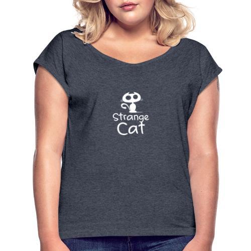 Strange Cat Blanc - T-shirt à manches retroussées Femme