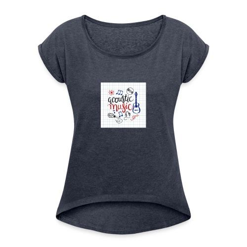 colorful music background - Frauen T-Shirt mit gerollten Ärmeln