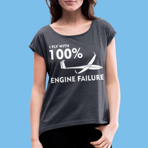 Motor Segelflugzeug lustig gleiten Segelflieger - Frauen T-Shirt mit gerollten Ärmeln