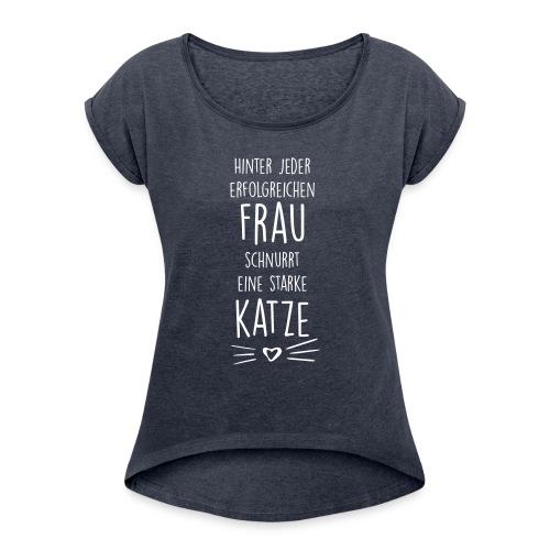 Vorschau: erfolgreiche frau - Frauen T-Shirt mit gerollten Ärmeln