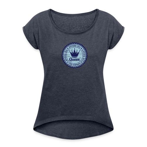 Apresski Queen Grunged Badge Shirt - Frauen T-Shirt mit gerollten Ärmeln