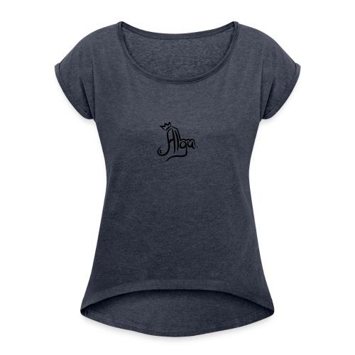 hw J9niF - Camiseta con manga enrollada mujer
