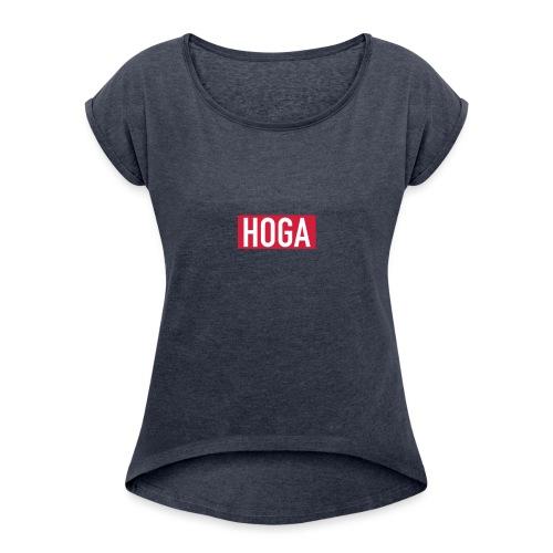 HOGAREDBOX - T-skjorte med rulleermer for kvinner