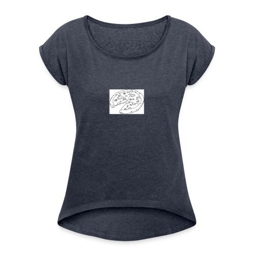 Pizza Kopp - T-skjorte med rulleermer for kvinner