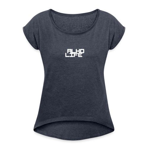 Projektowanie nadruk koszulki 1547218658149 - Koszulka damska z lekko podwiniętymi rękawami