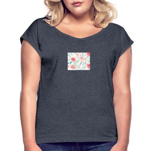Blumentraum - Frauen T-Shirt mit gerollten Ärmeln