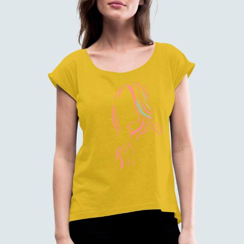 lady - Frauen T-Shirt mit gerollten Ärmeln