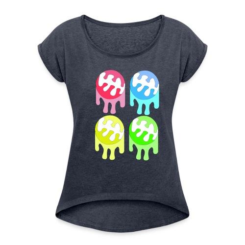 kleuren bal - Vrouwen T-shirt met opgerolde mouwen