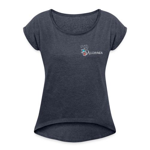 Titre logo Vect Blanc Grand png - T-shirt à manches retroussées Femme