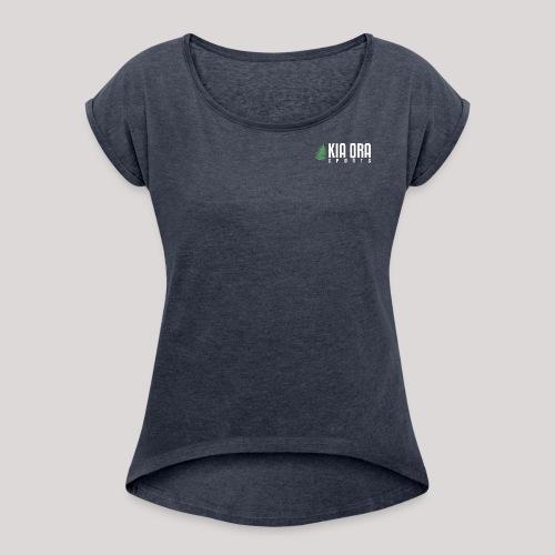 logo mit weißer schrift s - Frauen T-Shirt mit gerollten Ärmeln