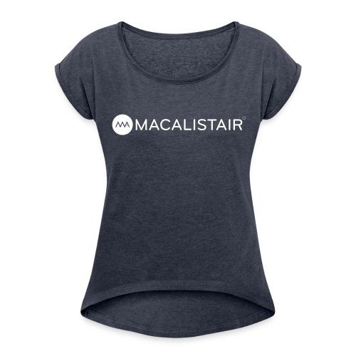 macalistair_logo+tekst - Vrouwen T-shirt met opgerolde mouwen