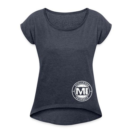 Logo Rund White - Frauen T-Shirt mit gerollten Ärmeln