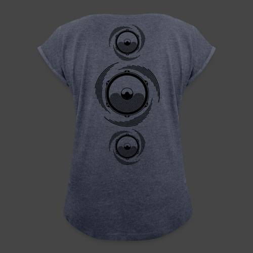 Haut-parleur Noir Spirale - T-shirt à manches retroussées Femme