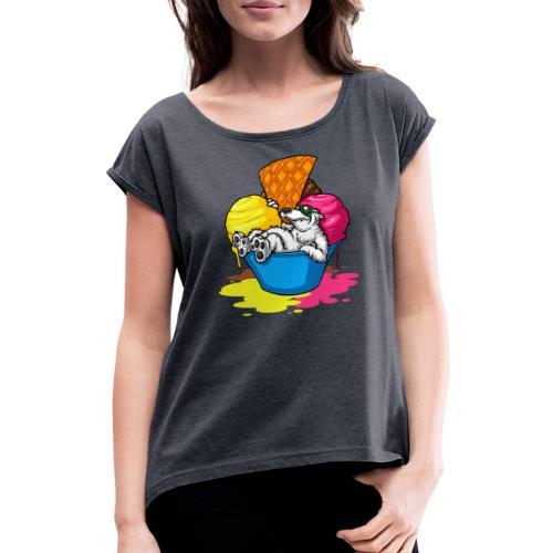 eisbär - Frauen T-Shirt mit gerollten Ärmeln