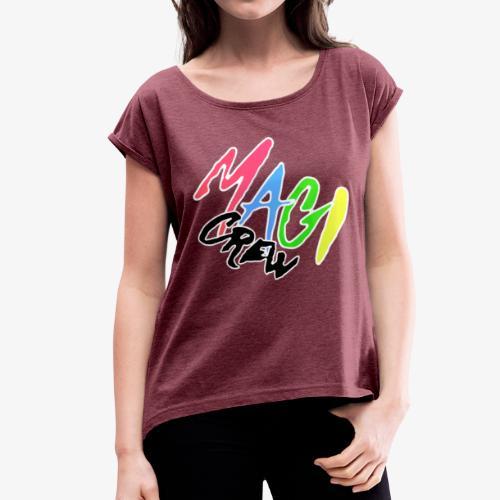 Magi Merch - T-shirt med upprullade ärmar dam